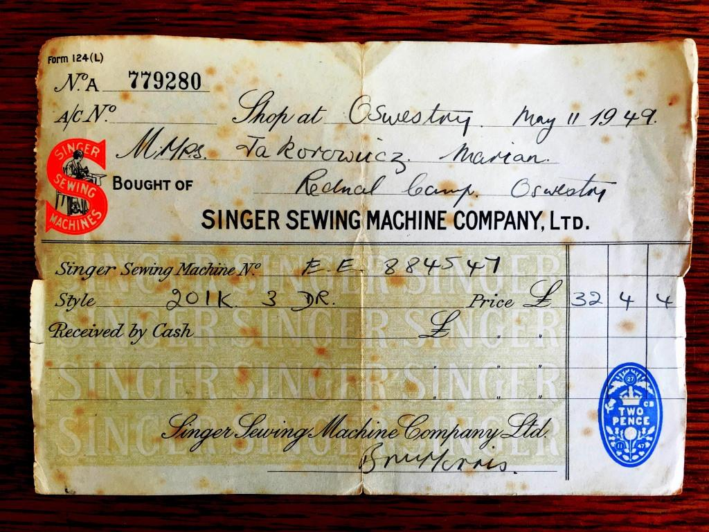 Singer 201 201k Necchi Supernova Sewing Machine Threading Diagram Vintage Here Is A 1949 Complete With Original Receipt As You Can See The Cost 32 4s 4d In An Oak Treadle Now Average Wage Was Little
